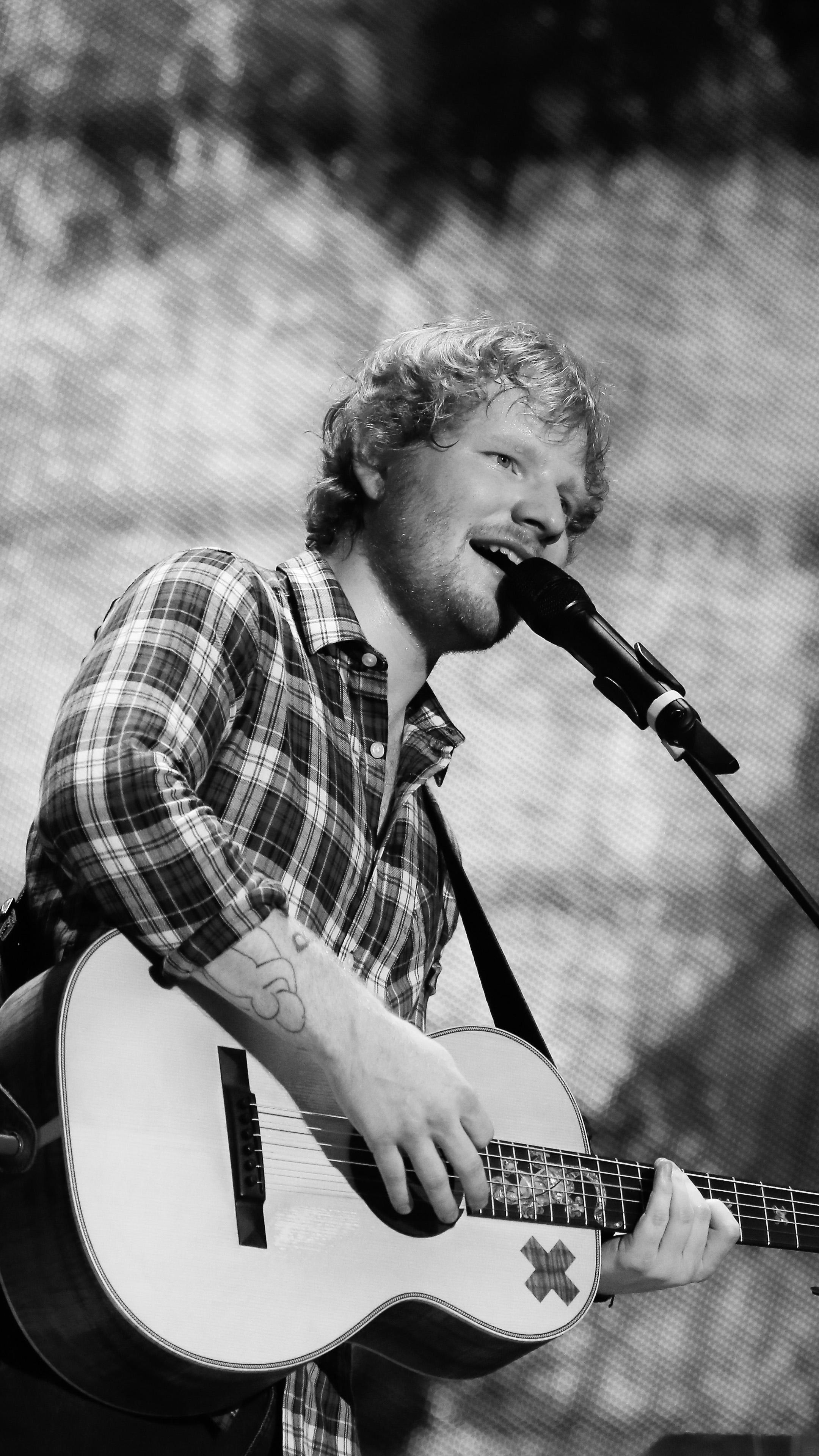 Download Singer Ed Sheeran Black & White Free Pure 4K Ultra