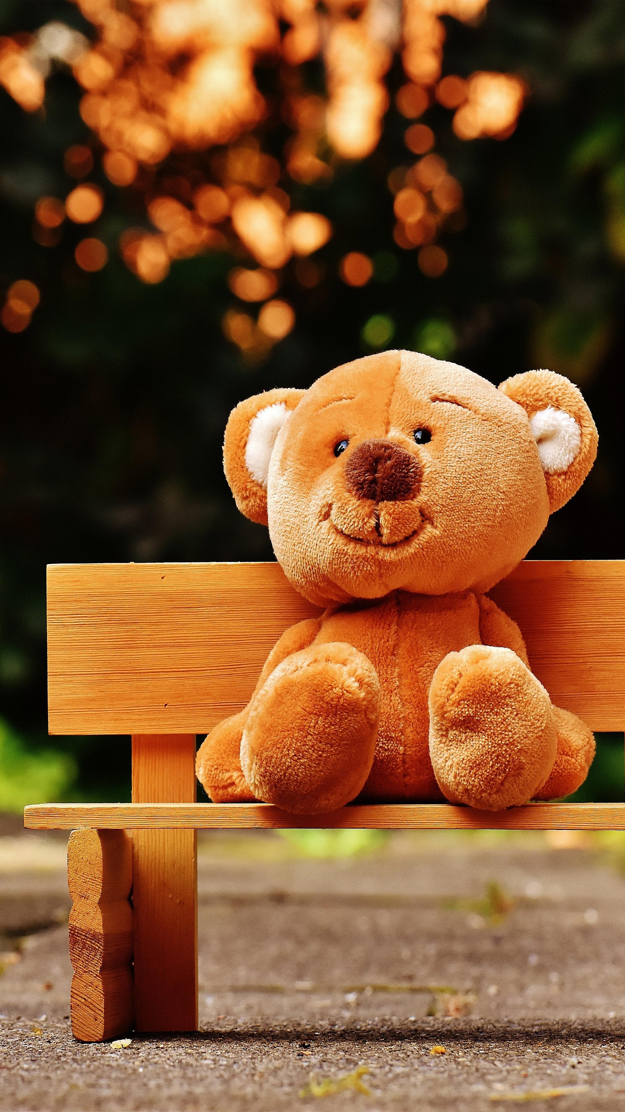 Cute Teddy Bear Park Bench 4k Ultra Hd Mobile Wallpaper