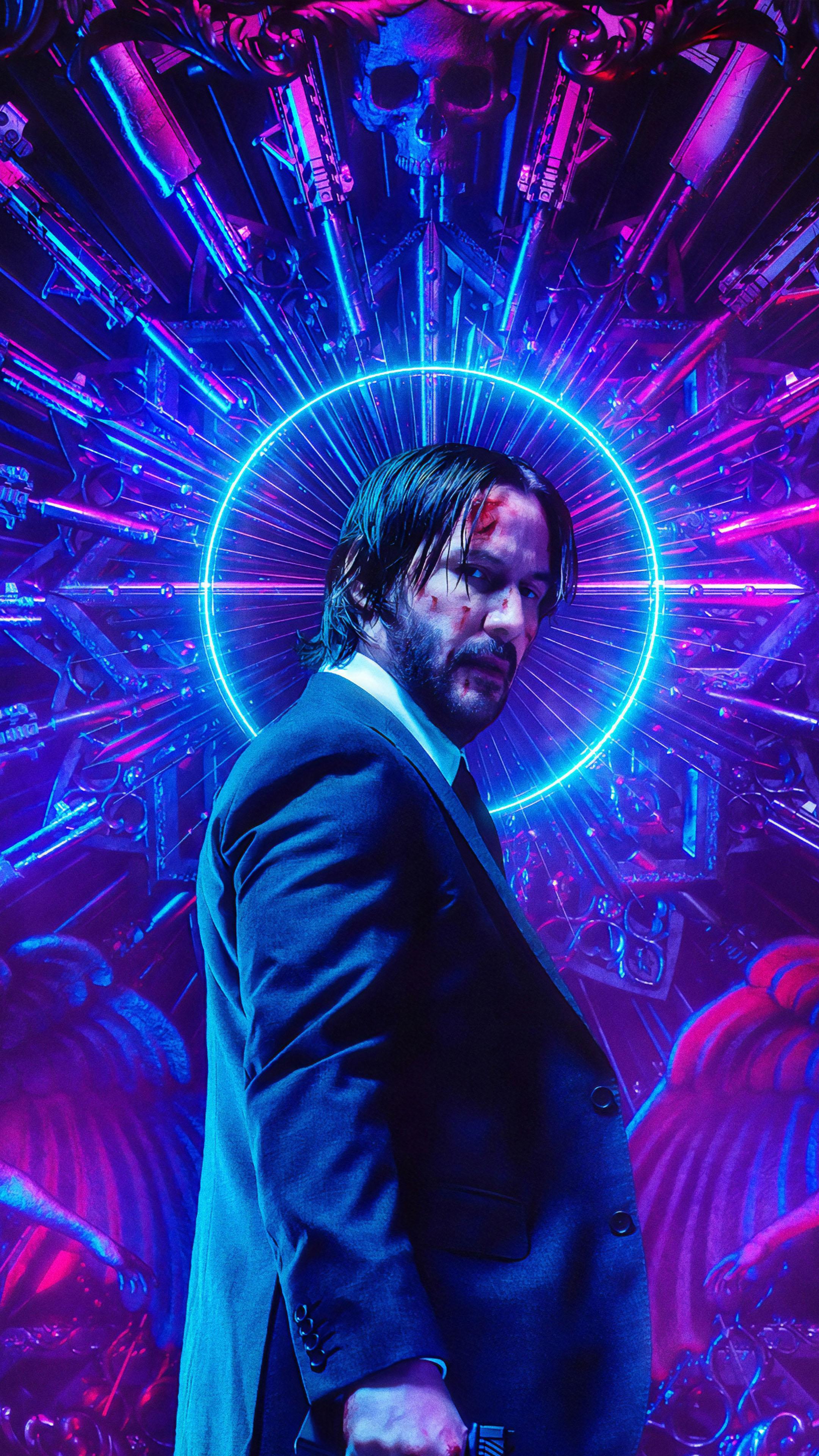 Keanu Reeves Neon John Wick Chapter 3 Parabellum 4k Ultra Hd Mobile Wallpaper