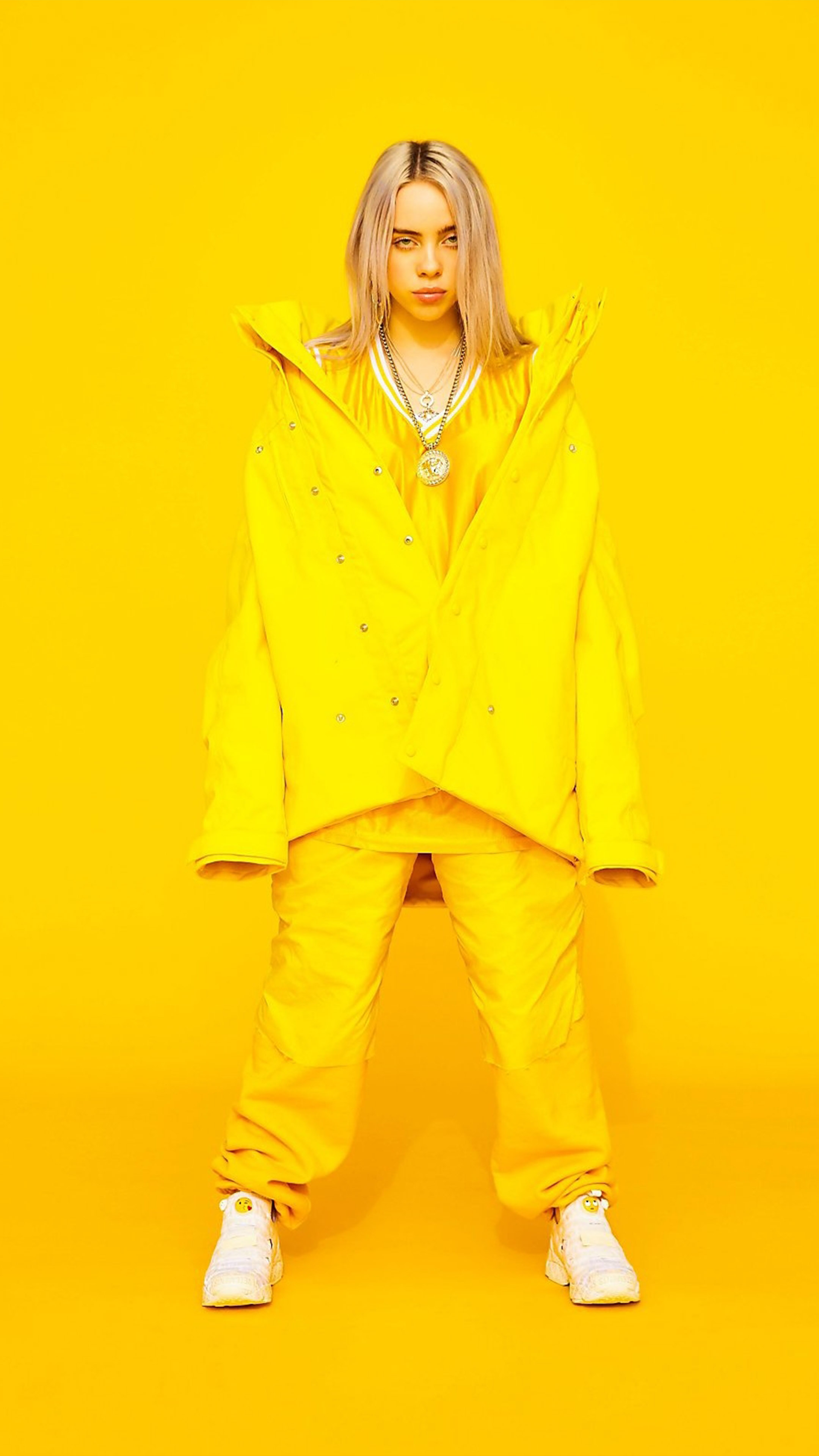 Billie Eilish Yellow Background 4k Ultra Hd Mobile Wallpaper