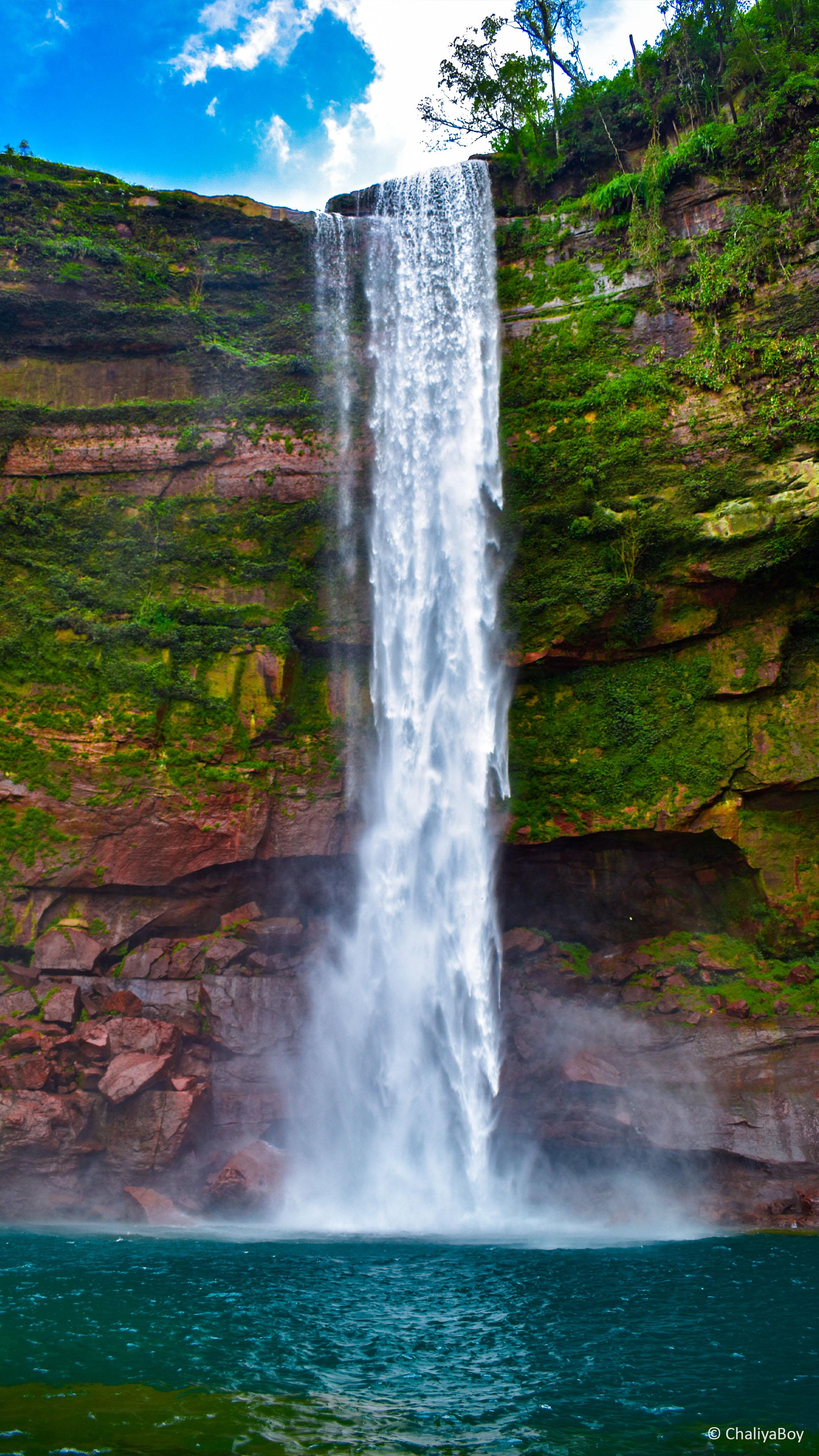 Waterfall Green Water Blue Sky 4k Ultra Hd Mobile Wallpaper