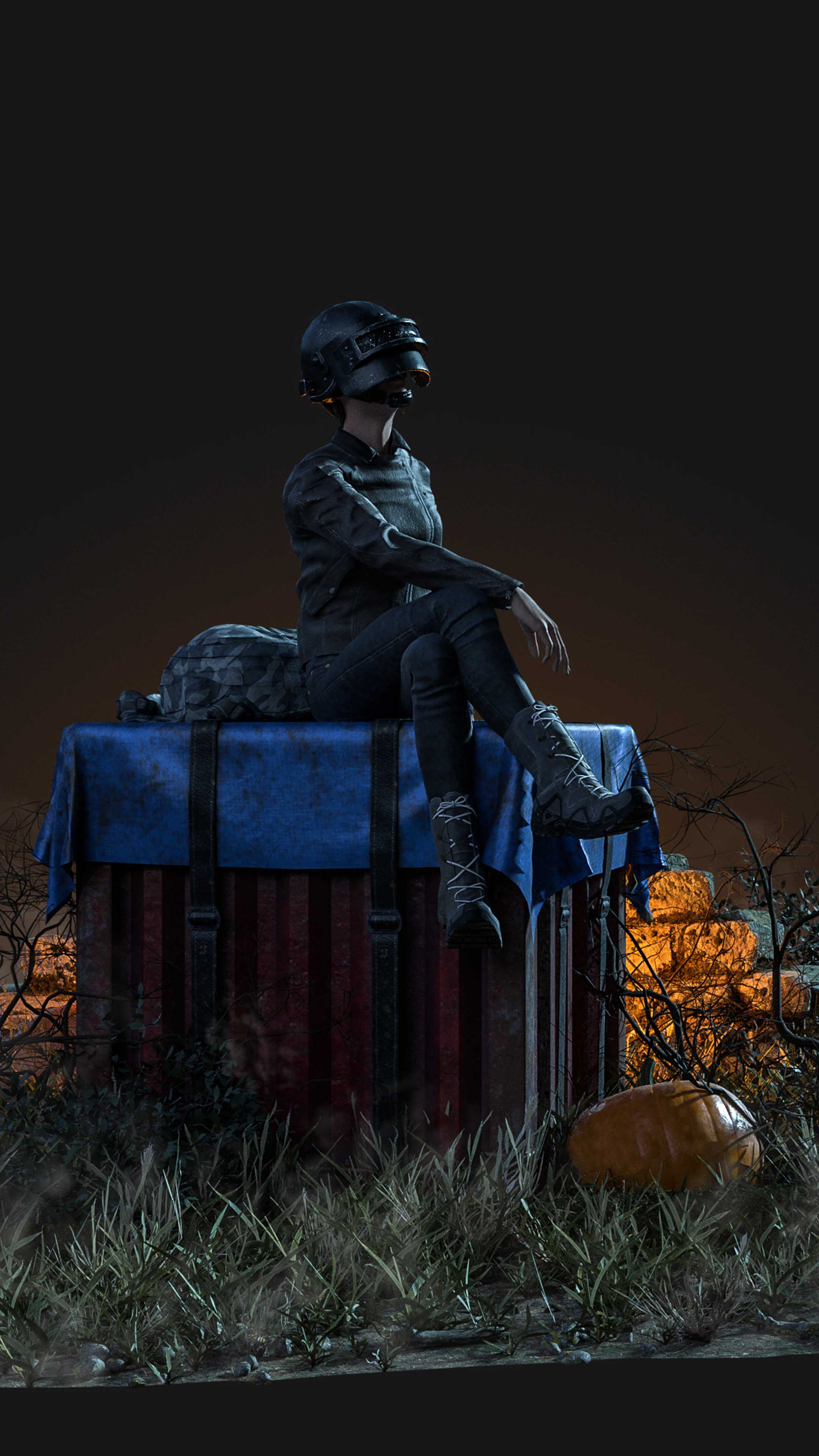 Pubg Girl Sitting On Air Drop Box 4k Ultra Hd Mobile Wallpaper