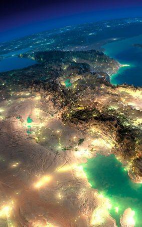 Close Satelite Image of Earth at Night