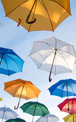 Colorful Flying Umbrellas Preview