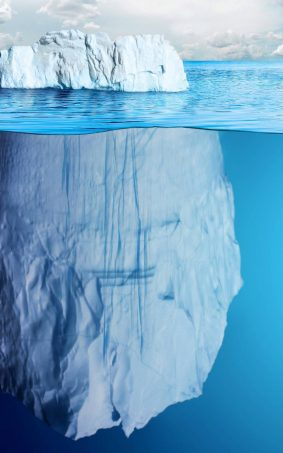 Invisible Part of Iceberg Under Sea