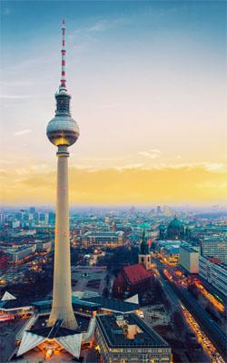 Evening View of Fernsehturm Berlin TV Tower Mobile Wallpaper Preview