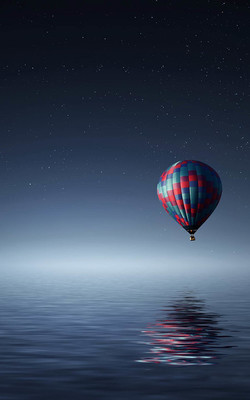 Lonely Air Balloon Over The Sea Mobile Wallpaper Preview