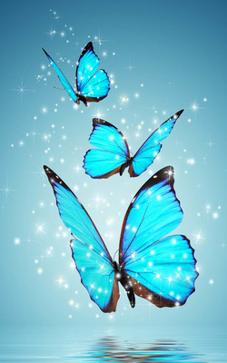 Magical Blue Butterfly Mobile Wallpaper Preview