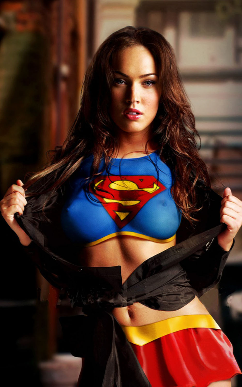 megan fox in superwoman costume - download free hd mobile wallpapers