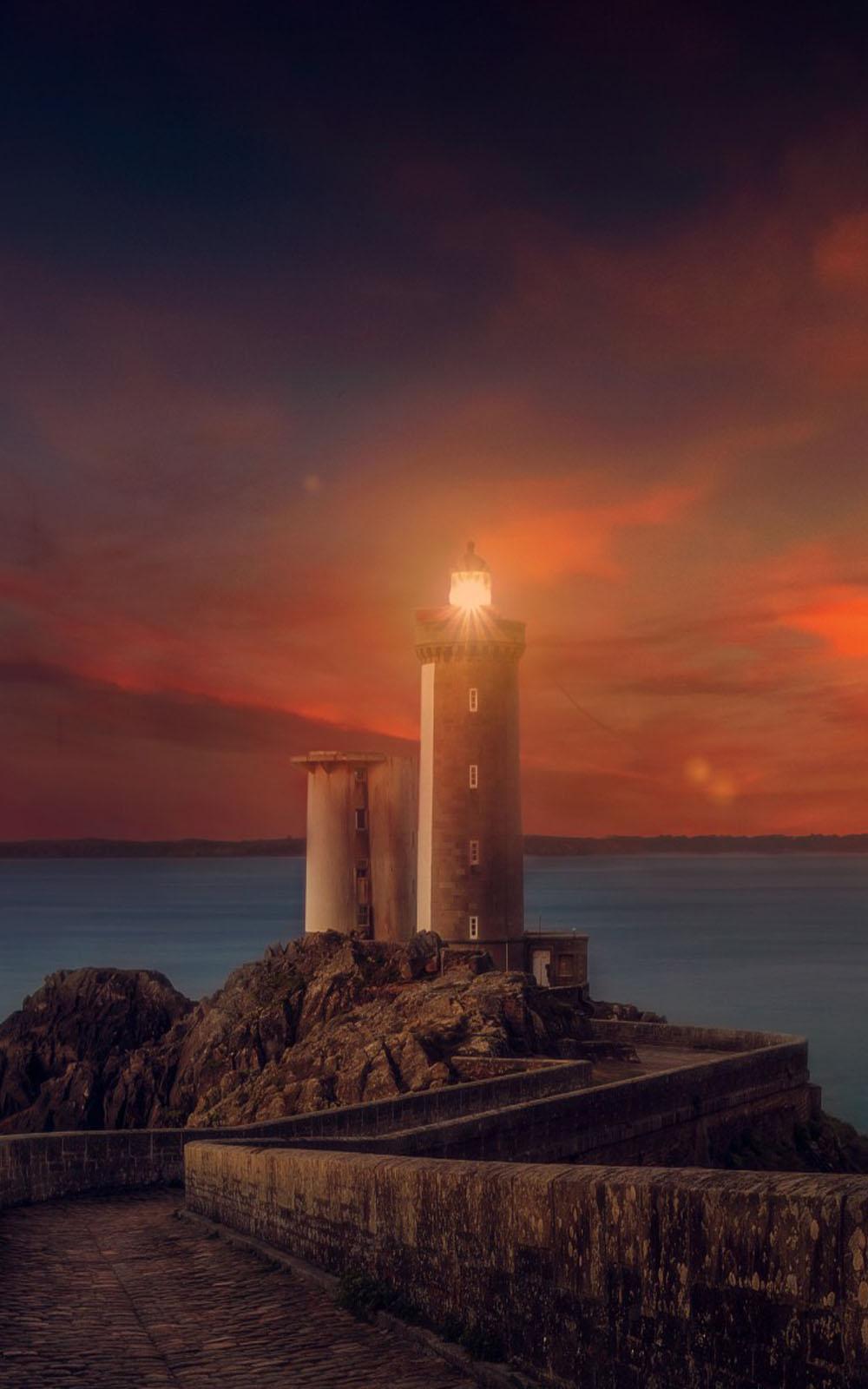 Sunset Lighthouse Mobile Wallpaper