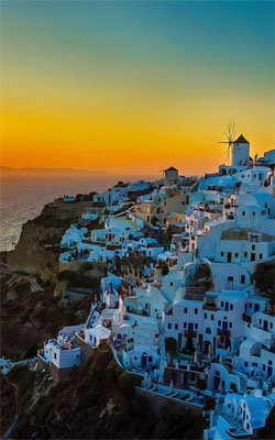 Sunset View of Santorini Island Mobile Wallpaper Preview