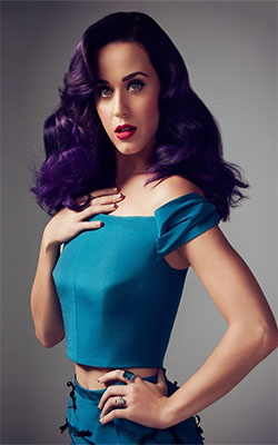 Katy Perry in Blue Dress Mobile Wallpaper Preview