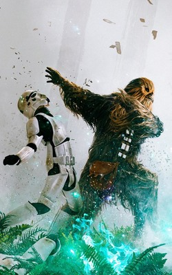 Chewbacca Stormtroopers Mobile Wallpaper Preview