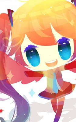 Happy Anime Girl Vocaloid Mobile Wallpaper Preview