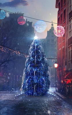 Street Christmas Eve Lights Mobile Wallpaper Preview