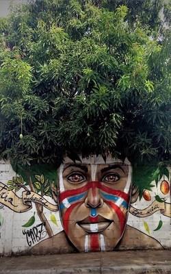Street Tree Graffiti Mobile Wallpaper Preview