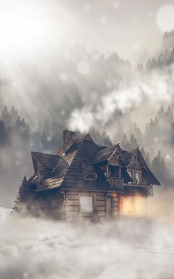 Woods Cabin in Cloudy Mountain Mobile Wallpaper Preview