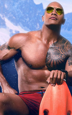 Dwayne Johnson in Baywatch 2017 Mobile Wallpaper Preview