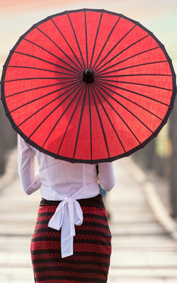 Girl With Red Oil Paper Umbrella Mobile Wallpaper Preview