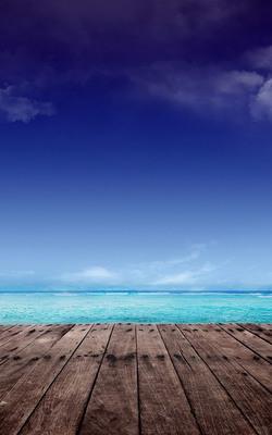 Sky Blue Beach Dock Mobile Wallpaper Preview