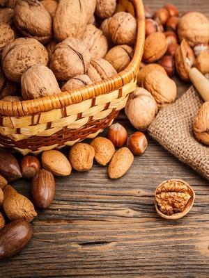 Almonds Walnuts Bucket HD Mobile Wallpaper Preview