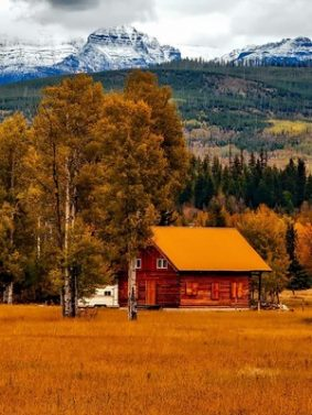 Autumn Country Side Cottage HD Mobile Wallpaper Preview
