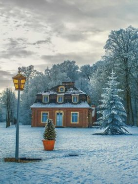 Beautiful Gloomy House In Winter Frozen Forest HD Mobile Wallpaper Preview