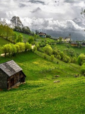 Beautiful Green Village Landscape HD Mobile Wallpaper Preview