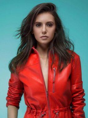 Nina Dobrev In Red Jacket HD Mobile Wallpaper Preview