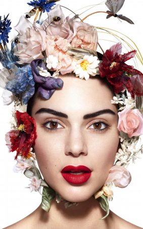 Kendall Jenner Wearing Flower Hat HD Mobile Wallpaper