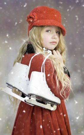 Cute Girl With Ice Skates HD Mobile Wallpaper