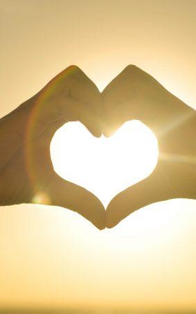 Hands Heart Sun HD Mobile Wallpaper