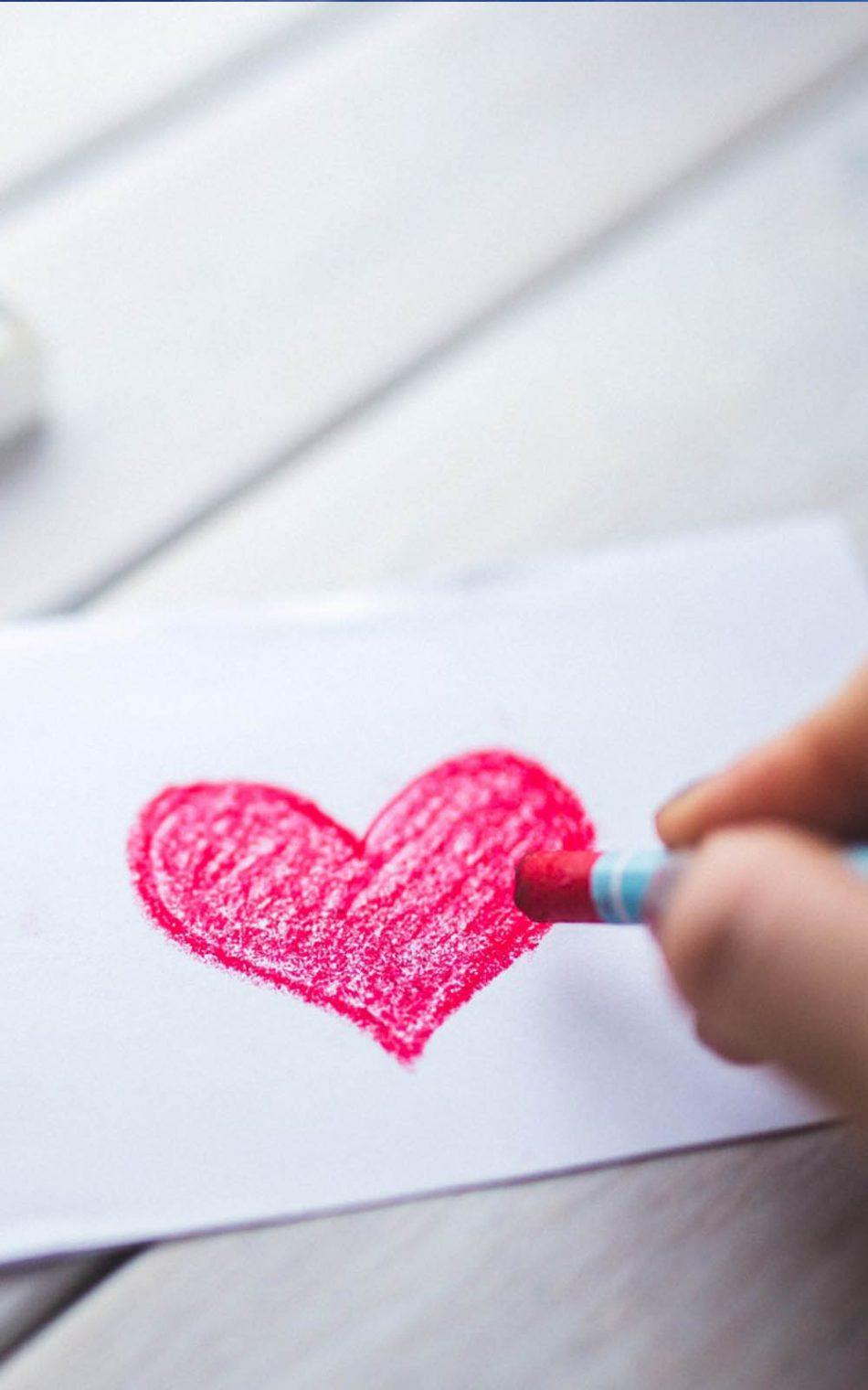 Heart color sketch hd mobile wallpaper