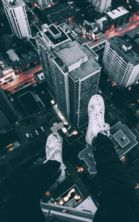 Skyscrapers Roof White Shoes HD Mobile Wallpaper