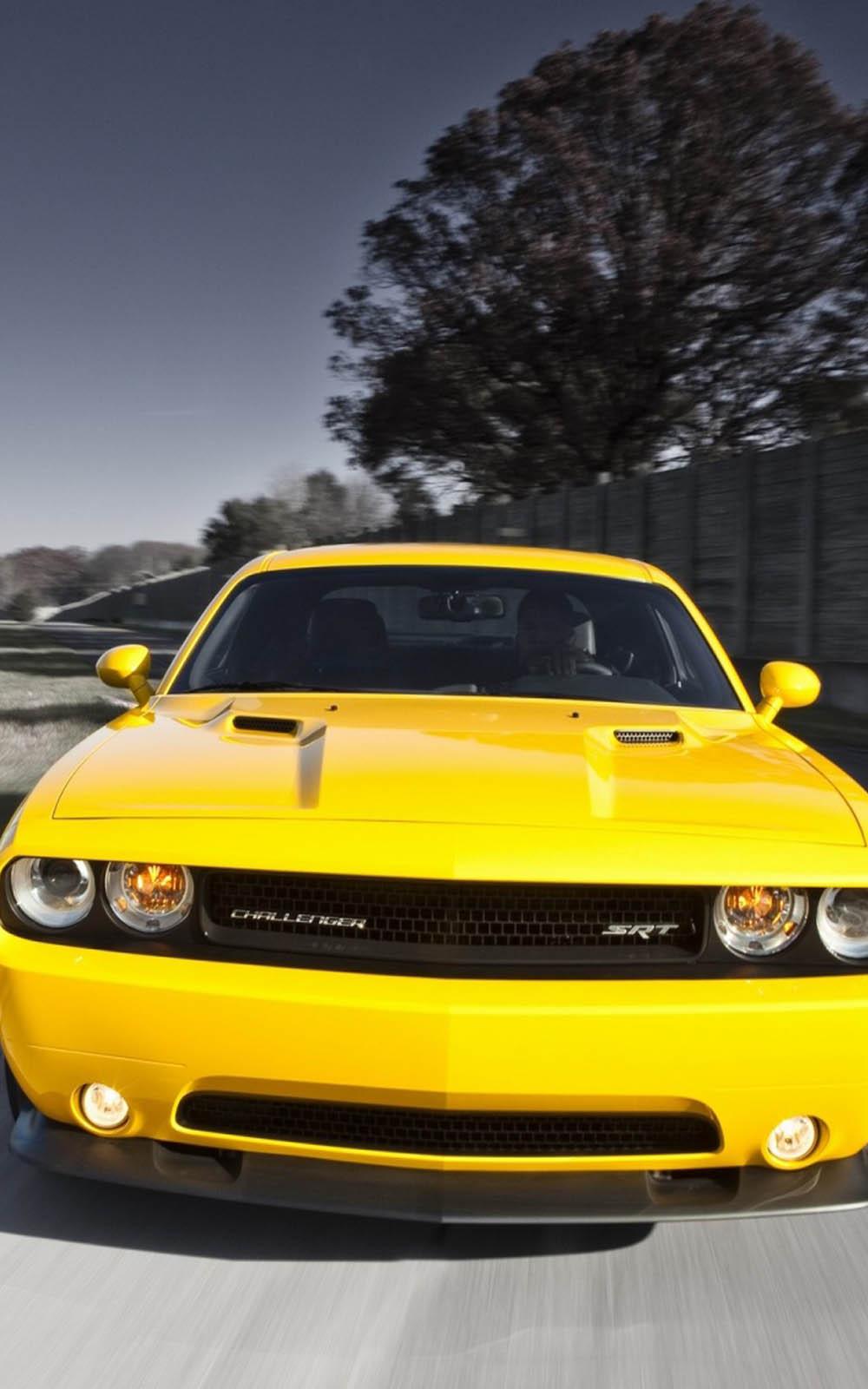 Yellow Dodge Challenger SRT 4K Ultra HD Mobile Wallpaper