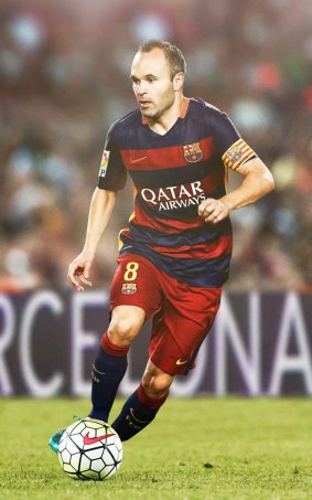 Andres Iniesta Playing For FC Barcelona HD Mobile Wallpaper