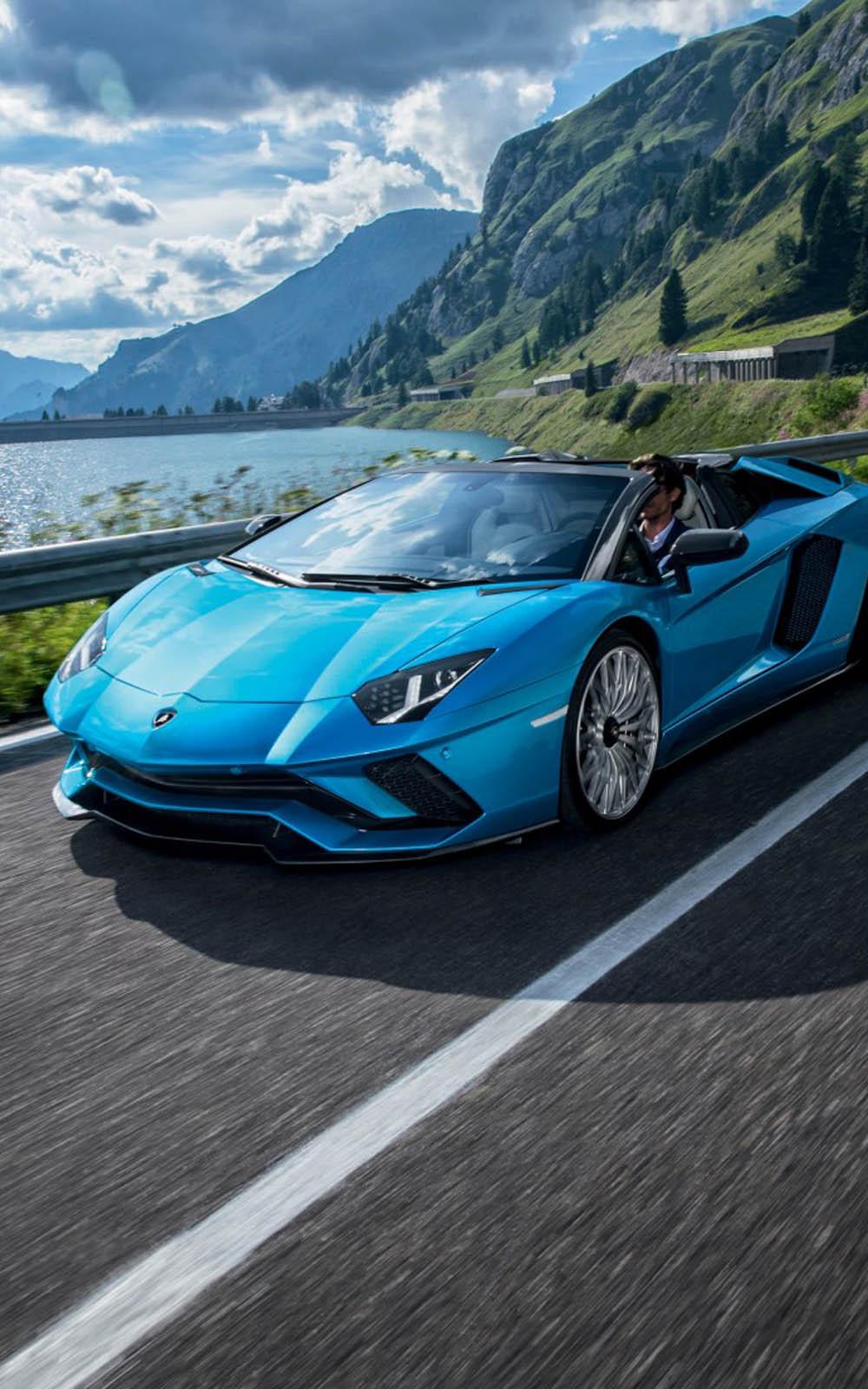 Download Blue Lamborghini Aventador S Roadster Free Pure 4K Ultra HD Mobile Wallpaper