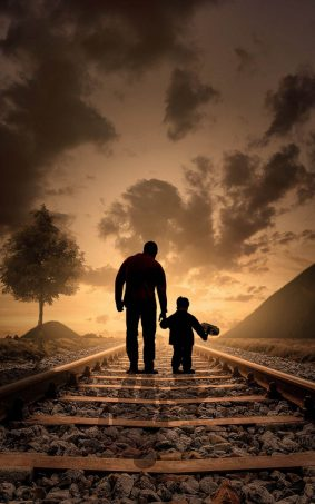 Father And Son Evening Walk HD Mobile Wallpaper