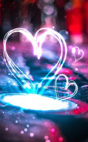 Heart Shape Lights HD Mobile Wallpaper