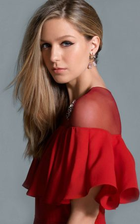 Melissa Benoist In Beautiful Red Dress HD Mobile Wallpaper