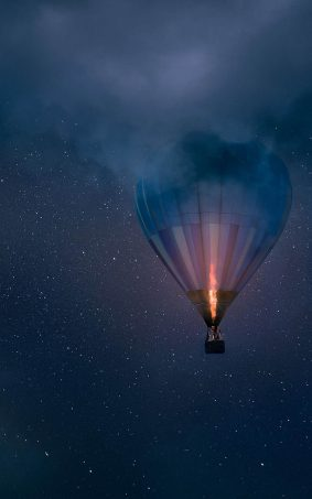 Night Air Balloon Flight HD Mobile Wallpaper