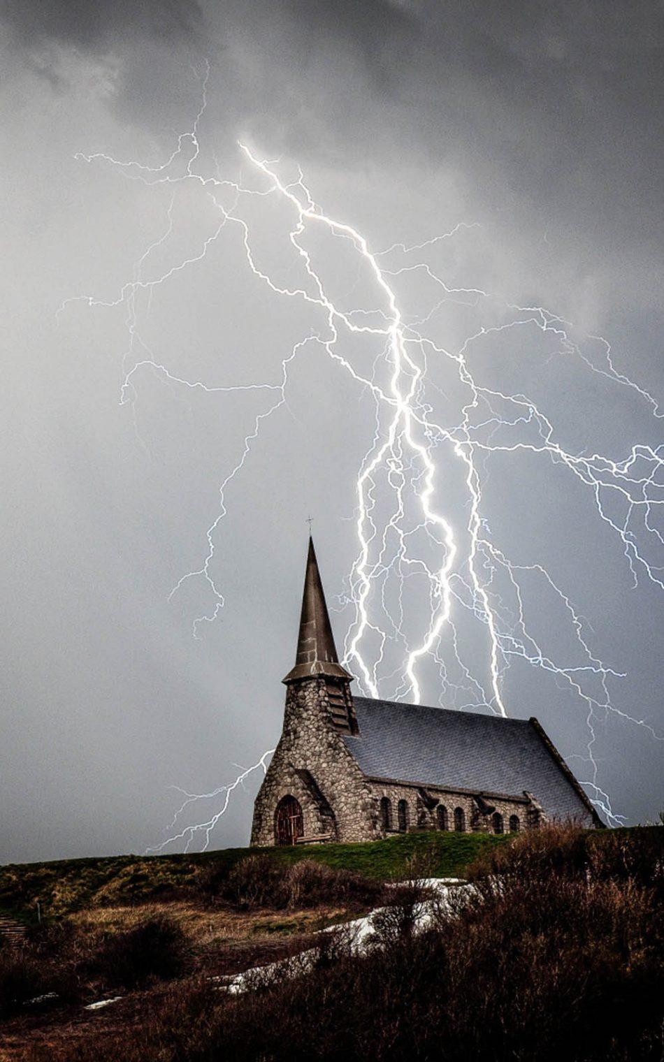 Church Storm Lightning HD Mobile Wallpaper