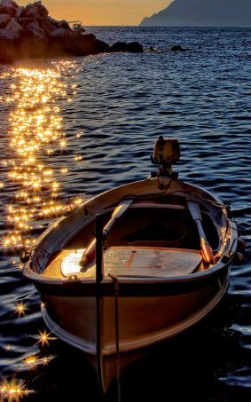 Sunset Boat On Sea HD Mobile Wallpaper