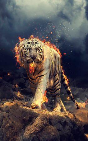 White Tiger Fire CGI HD Mobile Wallpaper
