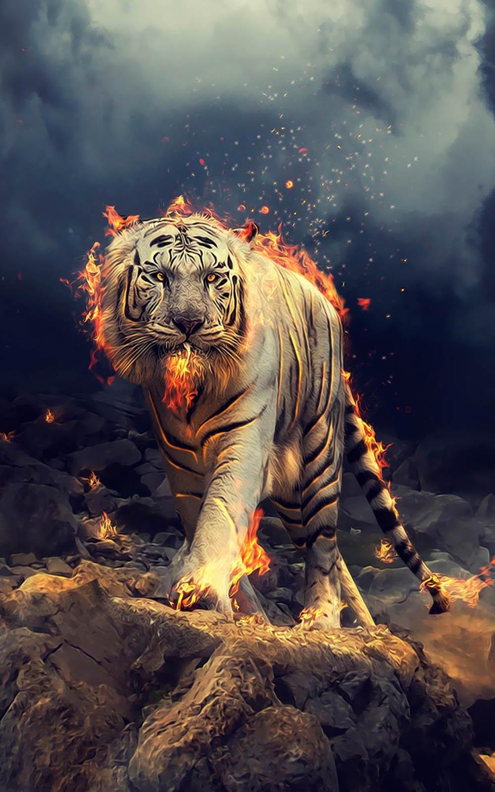 White Tiger Fire CGI Free 4K Ultra HD Mobile Wallpaper