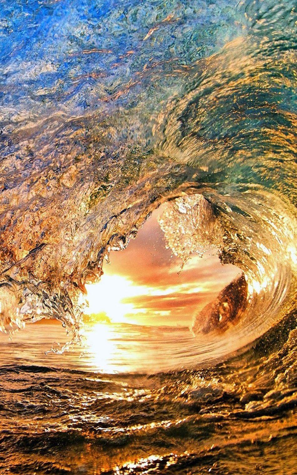 Amazing Sea Wave Sunset 4K Ultra HD Mobile Wallpaper