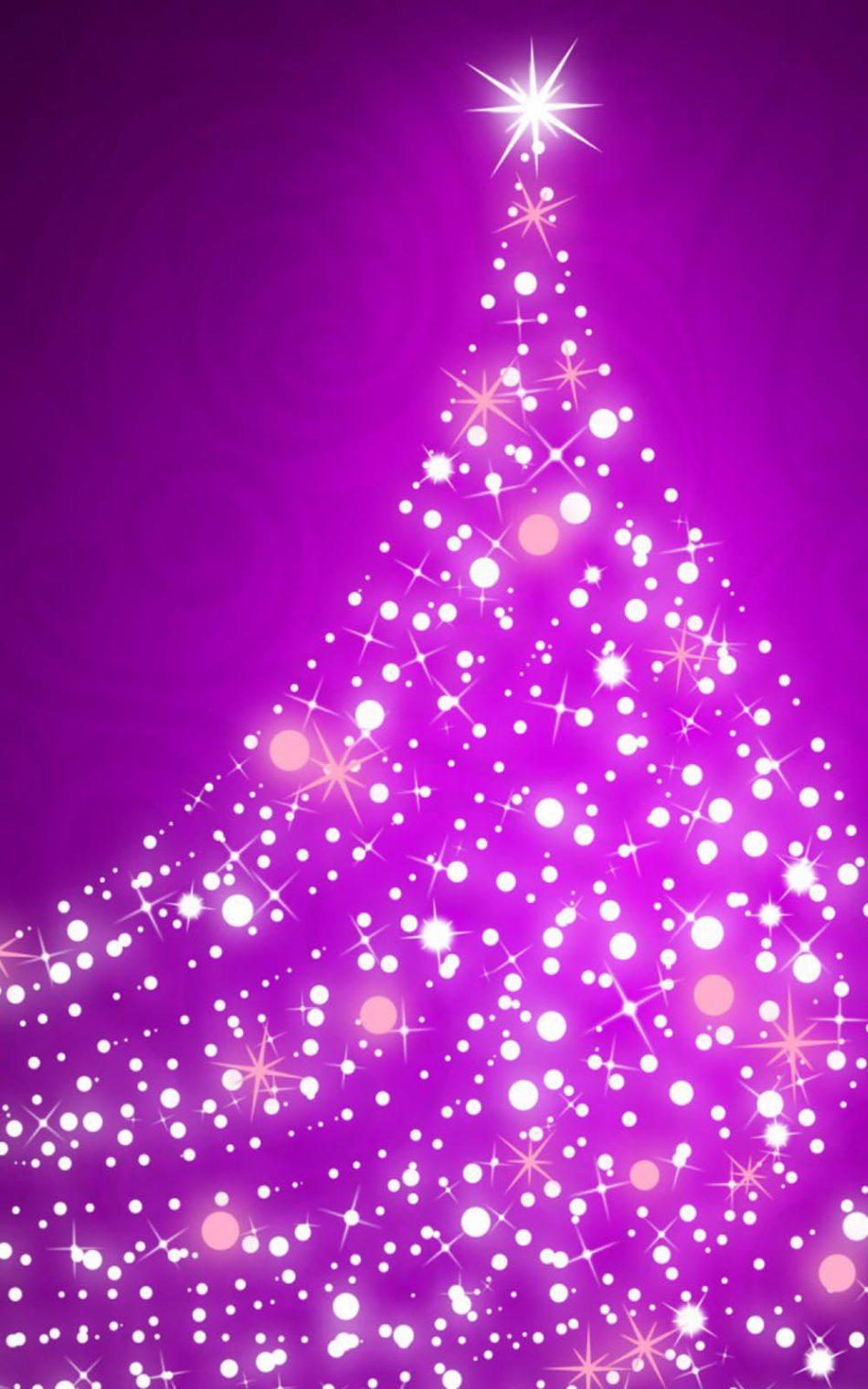 Download christmas tree lights purple background free pure - Purple christmas desktop wallpaper ...