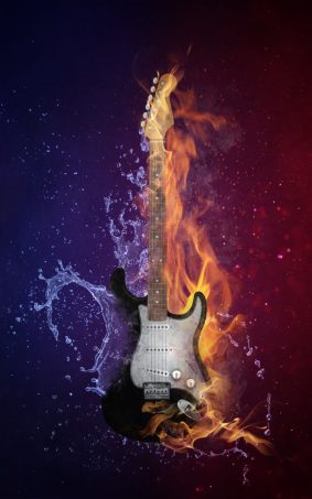Guitar Fire Water HD Mobile Wallpaper