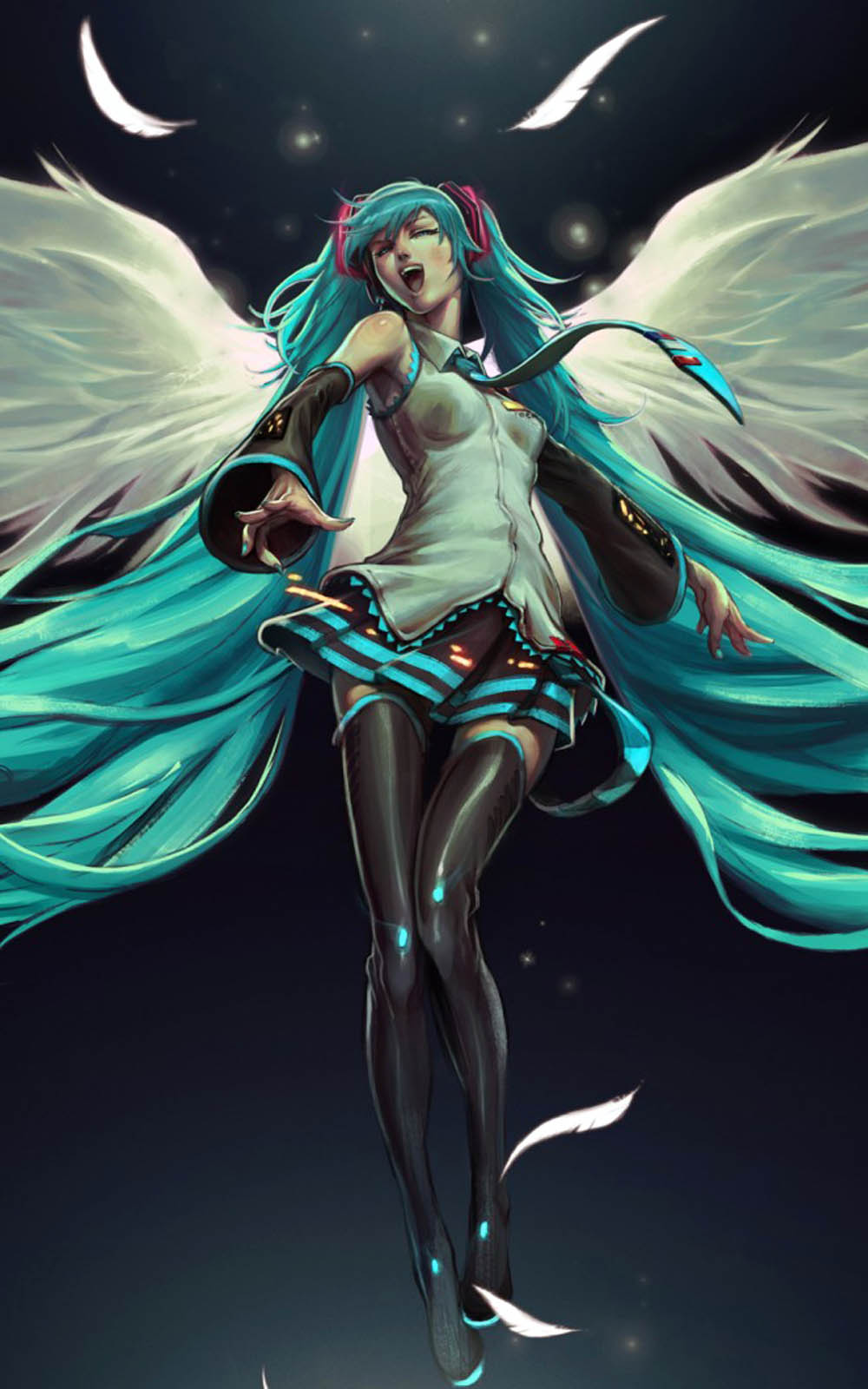 Hatsune Miku Angel 4K Ultra HD Mobile Wallpaper