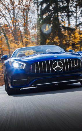 Mercedes AMG GT C Roadster Blue HD Mobile Wallpaper